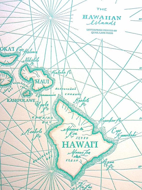 hawaiian islands letterpress printed map
