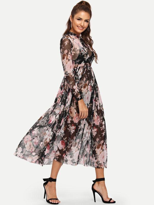 242fdf8bf1191 Mock Neck Semi Sheer Pleated Floral Dress -SheIn(Sheinside) | Closet ...
