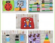 Carte senzoriala din fetru cu activitati pentru copii Quiet book Model 2