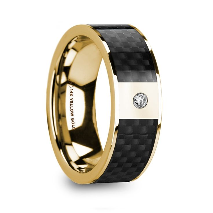 ALTAIR Polished 14K Yellow Gold & Black Carbon Fiber Inlay Men's Wedding Band with Diamond - 8mm #goldring #blackcarbonfiber #mensring
