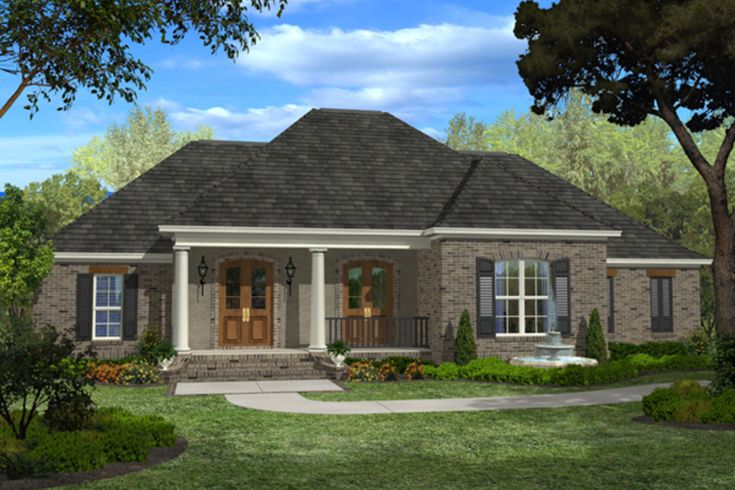 European Style House Plan - 4 Beds 3 Baths 2400 Sq/Ft Plan #430-48 Exterior - Front Elevation - Houseplans.com