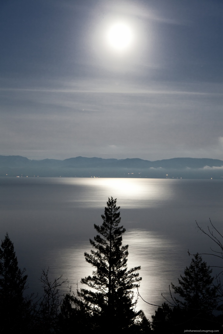 Full Moon over Flathead Lake, Montana. See more at my web Site http://johnharwood.smugmug.com/