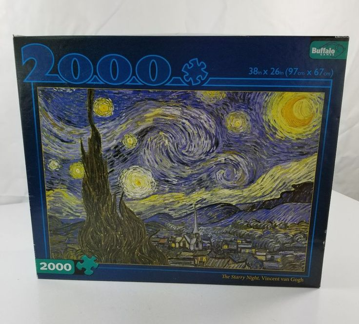 The Starry Night Vincent Van Gogh 2000 Piece Puzzle Buffalo Games Complete  #BuffaloGames