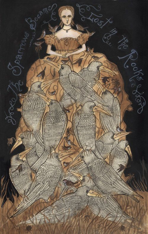 The Sparrows Became Lost in the Rooks - Original Framed Drawing, Swan Bones
