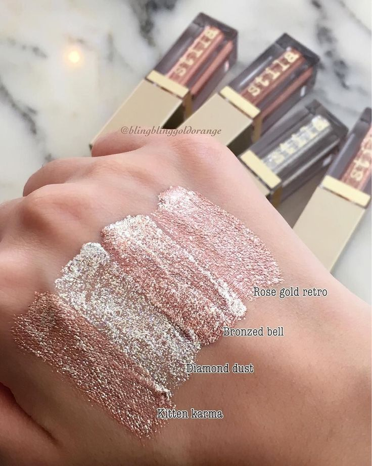 ✨✨✨✨ Blinding #swatches of the Magnificent Metals Glitter & Glow #liquideyeshadows by @stilacosmetics ✨ via @blingblinggoldorange