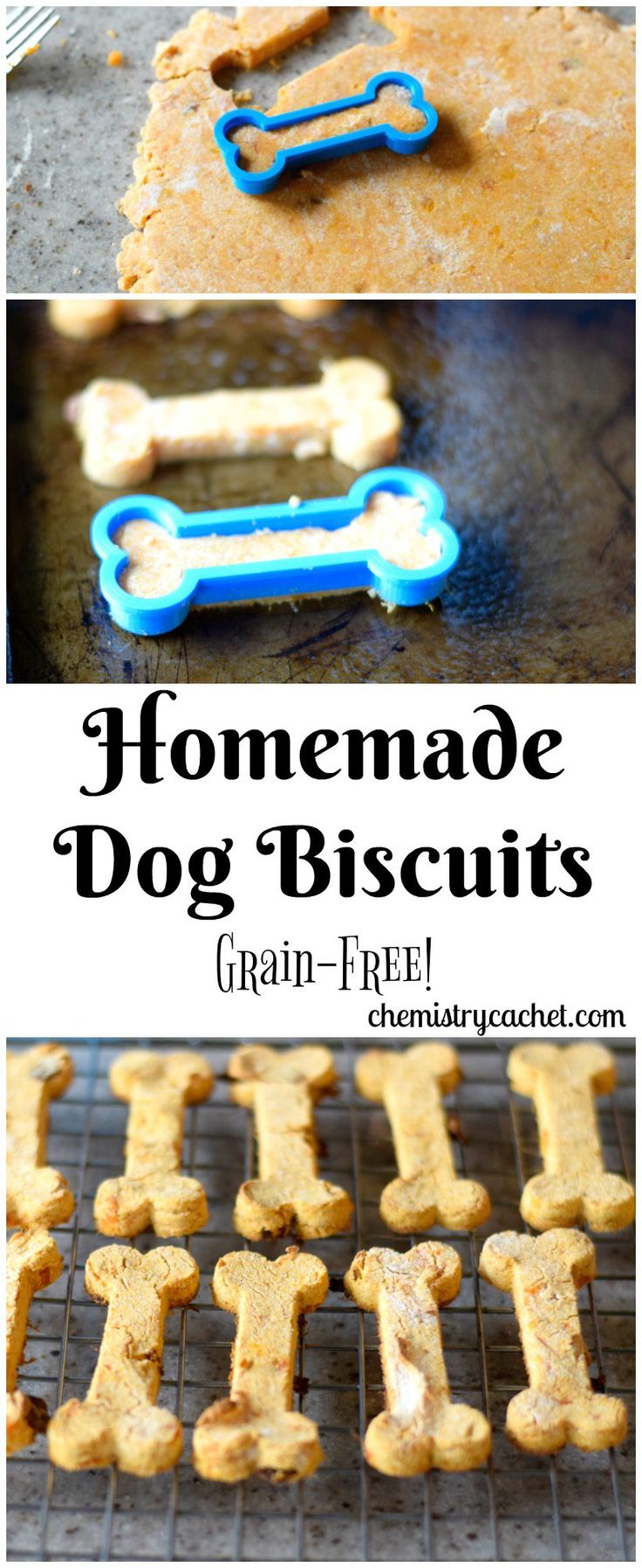 Homemade Grain-Free Dog Biscuits - Great Gift Idea! These homemade dog biscuits are so easy and perfect for your pet on chemistrycachet.com