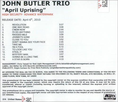 The John Butler Trio April Uprising 2010 USA CD-R acetate CDR ACETATE: THE JOHN BUTLER TRIO April Uprising (2010 US 15-track…
