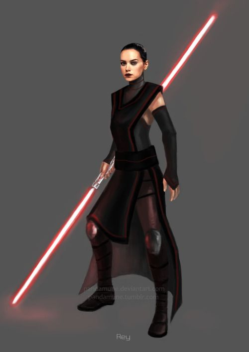 pandamune:    I just added a double lightsaber, I think it fits better with her.