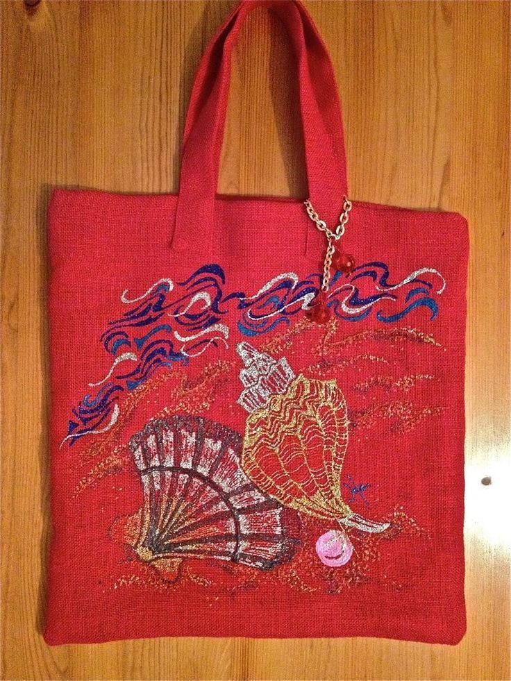 Borsa Bag Donna Rossa In Tessuto Naturale Sea Shell