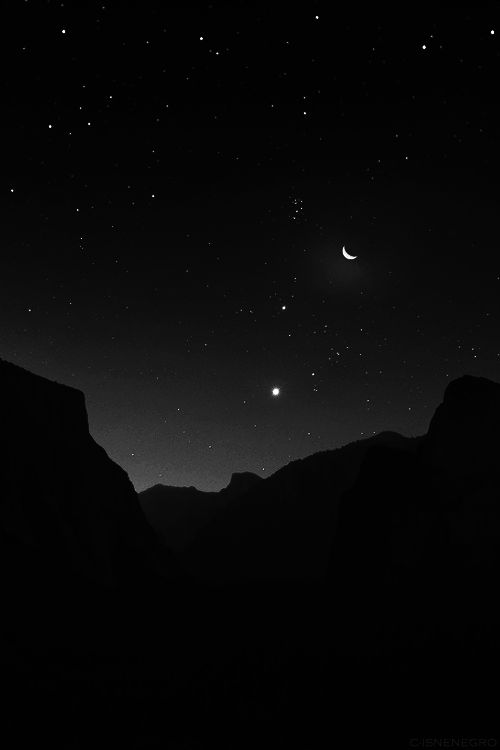 ☾ Midnight Dreams ☽ dreamy & dramatic black and white photography - moon sliver
