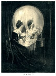The Charles Allen Gillbert painting from 1892  - Is it a young woman at her vanity mirror, or a gruesome skull?