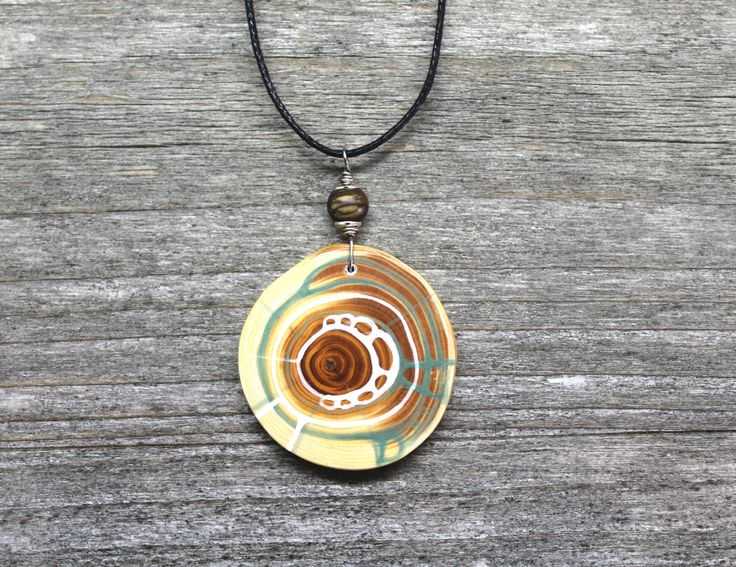 amulet made from yew wood, handpainted, with gemstone von Naturlieb auf Etsy