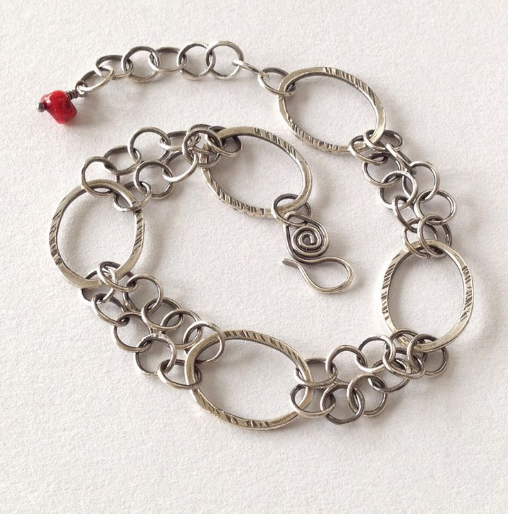 Fine silver chain bracelet, sterling silver clasp, red coral bead