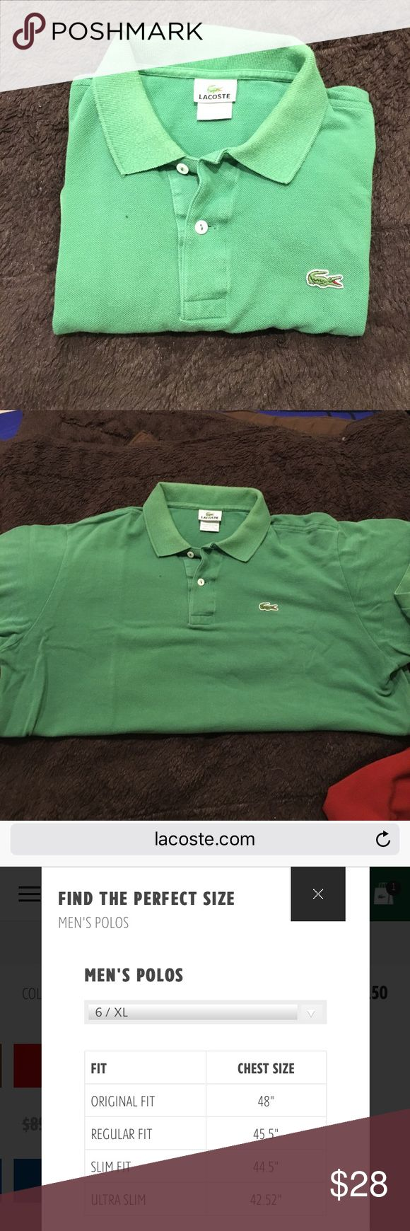 Lacoste Polo Very well worn but definitely still has life left. There's a bit of fading in the color but as I said before it's well worn but also well taken care of. The sizing is Lacoste sizing. Attached is a size guide from their website. Lacoste Shirts Polos