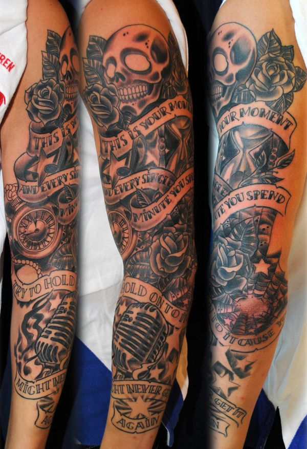 Men's tattoo arm half sleeve