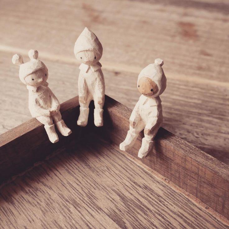 三人寄れば文殊の知恵  #mokko_kumakichi #木工くま吉 #woodcarving #木彫り #木彫 #handmade #ハンドメイド  #figure #doll