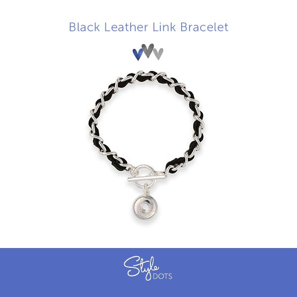 Our Black Leather Link Bracelet.  #styledots