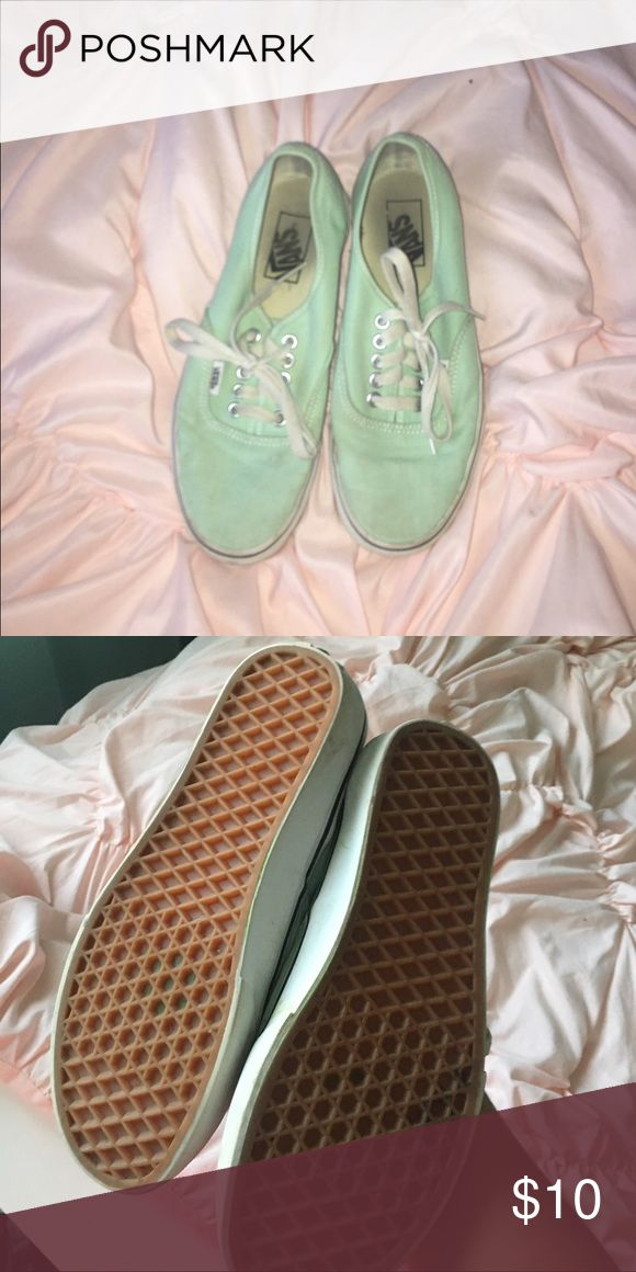 Mint Green Vans Used mint green vans. Size 8. These have been used, but they still have tons of life in them, and are in pretty good condition. with a trip through the washing machine or some cleaning, these would probably look brand new! Make an offer! considering all offers 😊 Vans Shoes Sneakers