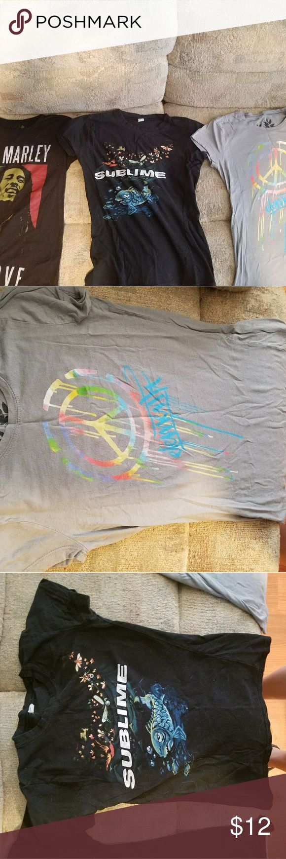Bob Marley, sublime and Element t-shirts Gently worn cute t-shirts. Bob Marley shirt is size xs ] Sublime t-shirt is small but fits like xs ] Element shirt says size medium but fits like small-xs Tops Tees - Short Sleeve