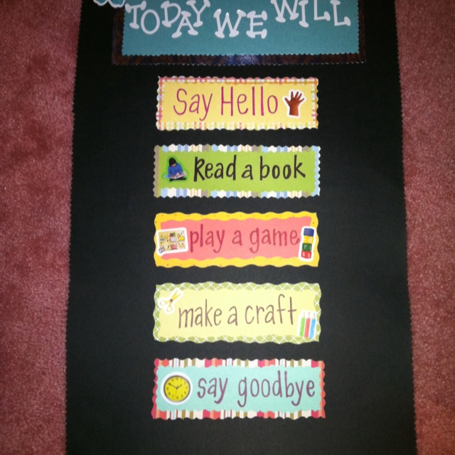 Speech Therapy schedule board...I am going to have this in my therapy room someday!!!