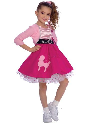 A 50s Girl Costume makes a great Halloween costume. This 1950's toddler Halloween costume comes with a poodle skirt.