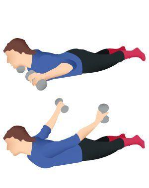 cet exercice complet se pratique avec de petits haltères.