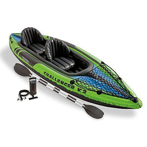 Intex Challenger K2 Kayak, 2-Person Inflatable Kayak Set with Aluminum Oars and High Output Air Pump #deals