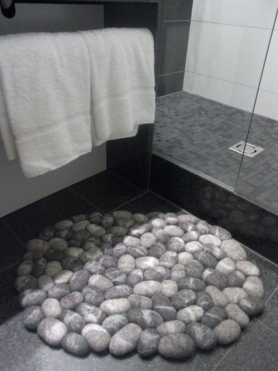 Felt stone rug / bath mat super soft with soft core gray