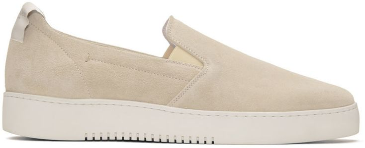 CALVIN KLEIN COLLECTION Off-White Suede Urban Slip-On Sneakers. #calvinkleincollection #shoes #sneakers