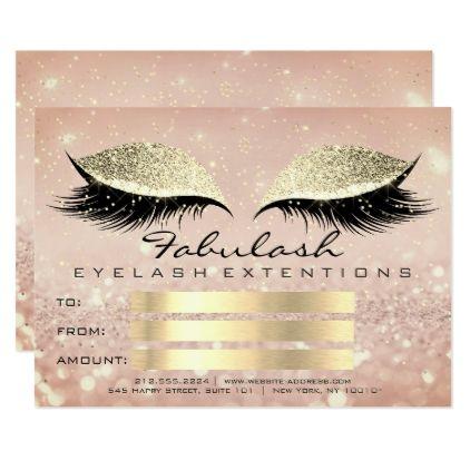 Confetti Lashes Gold Lux Makeup Certificate Gift Card - invitations custom unique diy personalize occasions