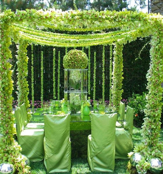 greenwedding green weddings ideas weddingideas greenparty greenaccessory cutegreen - Green Canopy Decoration