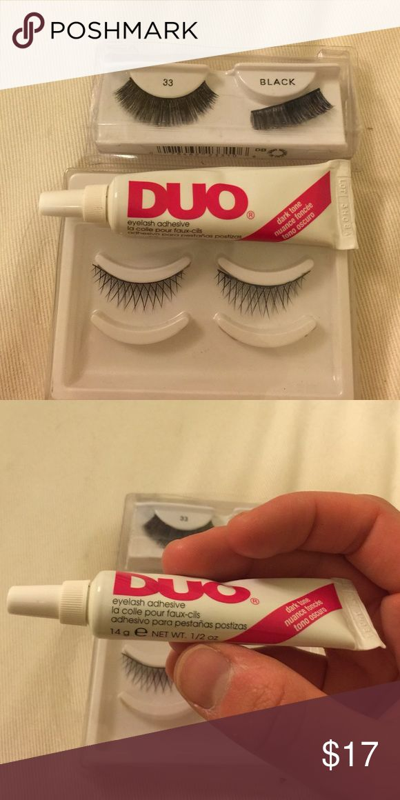 DUO EYELASH GLUE + 2 PAIRS OF LASHES The best selling eyelash glue by duo in the dark shade so it blends in with your mascara! USED ONCE...this tune will last you forever...I'm including two sets of false lashes (1 fuller and 1 more natural looking) Duo Makeup False Eyelashes