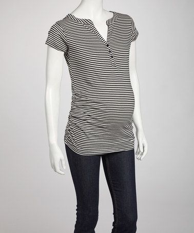 Take a look at this Black & Oatmeal Stripe Maternity Short-Sleeve Henley by Oh! Mamma on #zulily today!