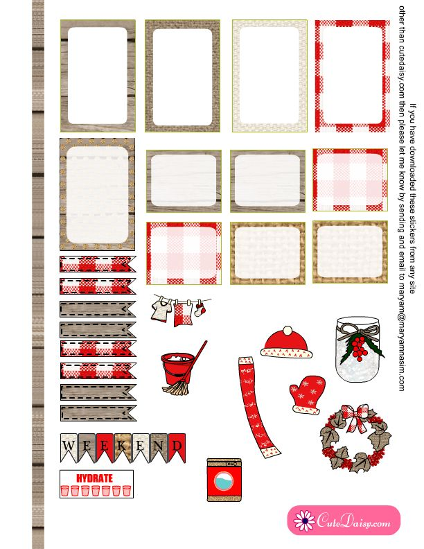 Free Printable Rustic Christmas Stickers for Happy Planner 2