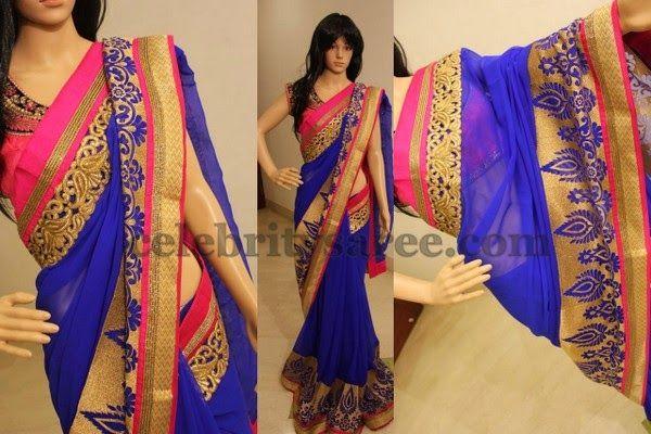 Blue Georgette Saree by Amuktha