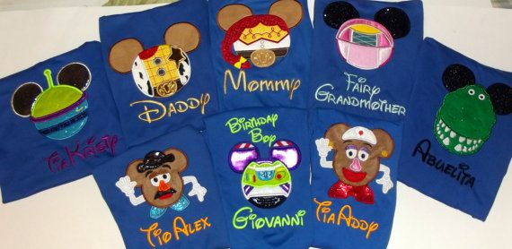 Toy Story Mickey Mouse and Minnie Mouse Disney Family Vacation T Shirts. Personalized applique embroidery. Disney Family Vacation T Shirts.