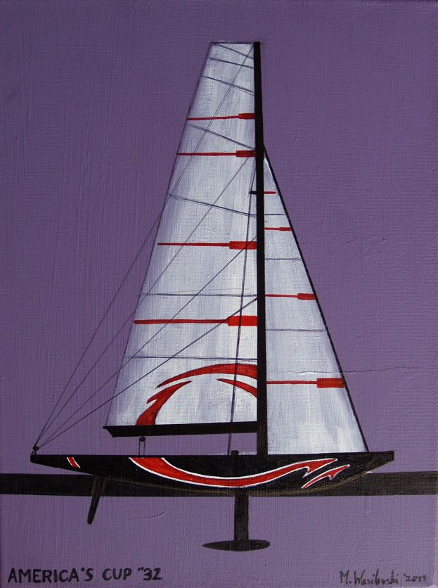AMERICA'S CUP 32, 40X30cm, canvas, acrylic + marker