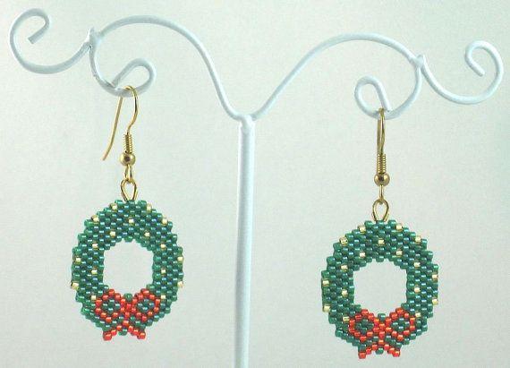 Christmas Wreath Beaded Earrings - Christmas Jewelry