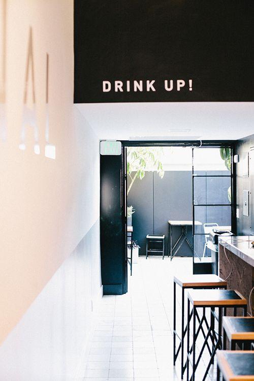 'Drink Up' Bulkhead Stencil | Los Angeles CA