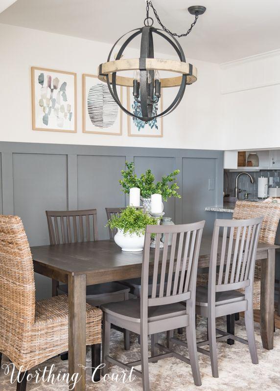 Modern Farmhouse Dining Room Gray Board And Batten Wall Orb Chandelier Rustic Industrial