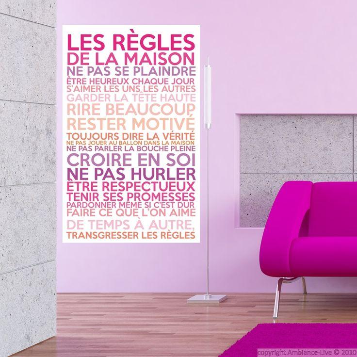 Sticker poster les règles de la maison couleurs girly - stickers Citations Français - ambiance-sticker