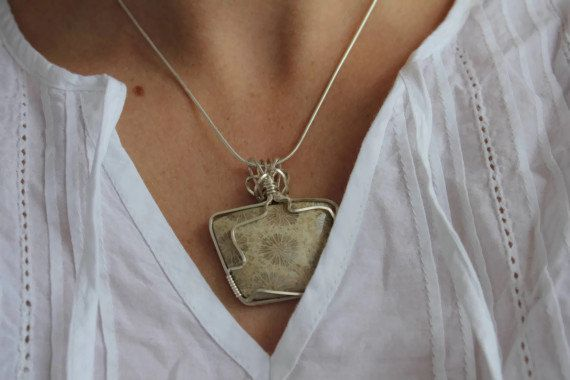 Fossil Coral Necklace Pendant Wire Wrapped Sterling by storyleaf, $74.00