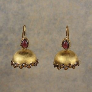 Jhumkhi Warmth - Simple jhumkis, handcrafted in sterling silver exude the warmth of the reds and oranges in garnets and citrines respectively.