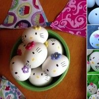Image via: mommy brain reports , diy center To make these Hello Kitty eggs first you have to hard boil some eggs. Then make eyes on all the eggs with a bla