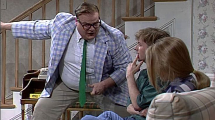 After their cleaning lady finds pot in the house, parents (Phil Hartman, Julia Sweeney) hire motivational speaker Matt Foley (Chris Farley) to talk to their teens (David Spade, Christina Applegate) about drugs and their future. [Season 18,1993]