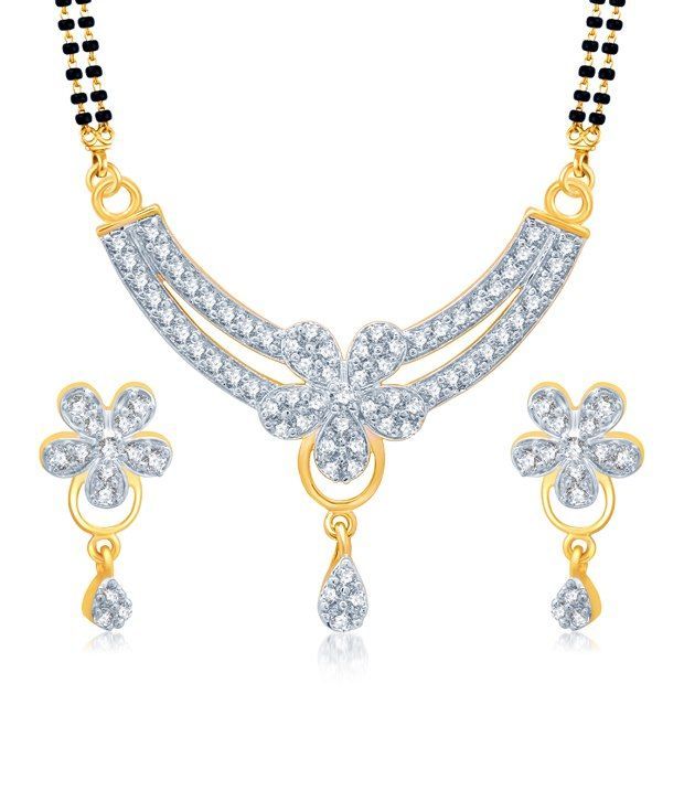 Sukkhi Briliant Gold and Rhodium Plated Cubic Zirconia Stone Studded Mangalsutra Set, http://www.snapdeal.com/product/sukkhi-briliant-gold-and-rhodium/264555781