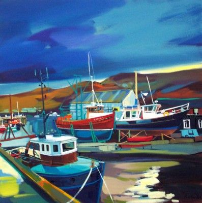 Docked Mallaig by Scottish Contemporary Artist Pam CARTER