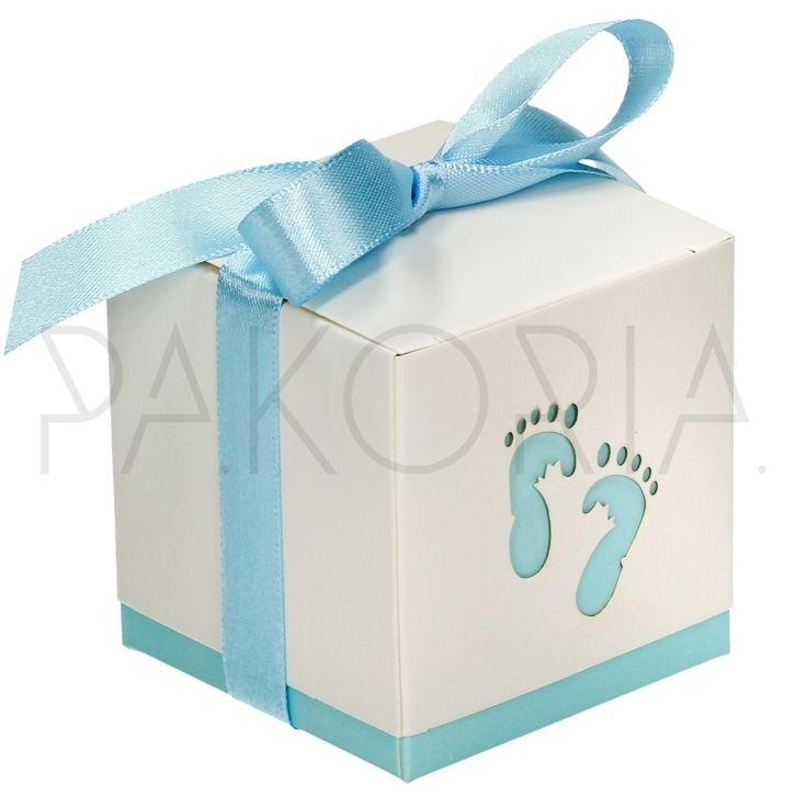 Pudełko NIEBIESKIE STOPY z kokardą.  Idealne na chrzest, roczek, baby shower, gender party, kinder party. Inspiracje. pakoria.pl Inspiration, blue cute baby feet, little prince.