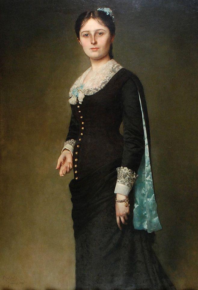 """Władysław Czachórski: """"Portrait of Maria Popielów Godlewska"""", 1880, oil on canvas, 140 × 94 cm (55.1 × 37 in), Private Collection."""