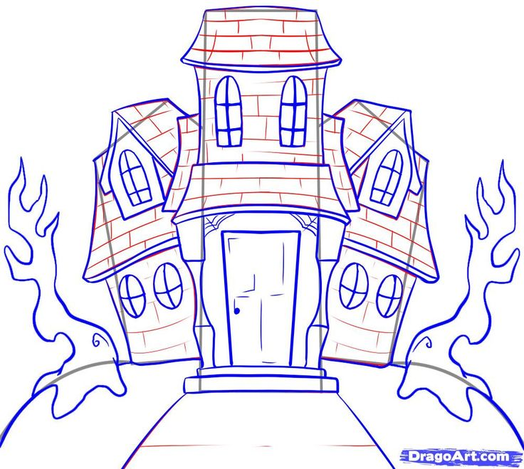 How to Draw a Haunted House, Step by Step, Halloween, Seasonal ...